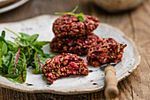 Grain and beetroot fritters