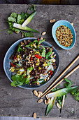 Glass noodle salad with vegetables and peanuts (Asia)