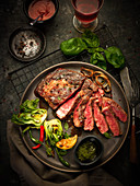 Beef steak, sliced, with bok choy and chilli