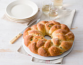 Yeast dough wreath with bacon and broad beans