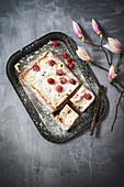 Raspberry cheesecake, sliced