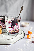 Blueberry-coconut cheesecakes with cottage cheese, honey, coconut shortbread cookies