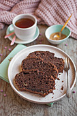 Chocolate banana bread served with cup of tea