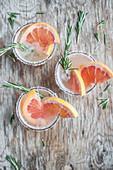 Pink grapefruit mocktail lemonade with rosemary