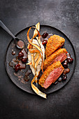 Duck breast with a chestnut crust