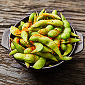 Edamame beans seasoned with chilli