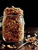 Paleo granola in a storage jar