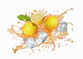 A splash of iced tea with lemon and mint
