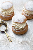 Semla with cream and icing sugar (Sweden)