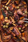 Rabbit stifado with autumnal vegetables