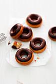 Doughnuts with dark chocolate glaze