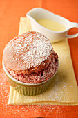 Beetroot and strawberry souffle with vanilla sauce
