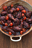 Coq au vin (chicken in red wine, France)