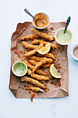 Fried anchovies with three dips