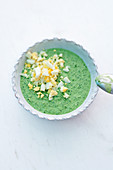 Green sauce with hard-boiled egg
