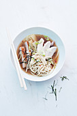 Japanese noodle soup with chicken and pork