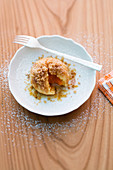 Apricot dumplings with buttered breadcrumbs