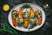 Grain and Kale Stuffed Butternut Squash