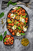 Grilled Eggplant Roasted Tomatoes and Buratta Cheese