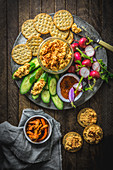 Pimento Cheese Platter with Crackers and Radishes