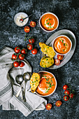Tomato Soup with Cheese Toasts and Fresh Tomatoes