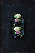 Three different aubergines in a dish