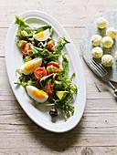 Bunter Sommersalat mit Avocado, Tomaten und Ei