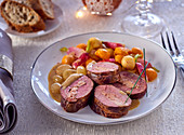 Stuffed duck breast with goose liver for Christmas