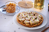 Puff pastry tart with boudin blanc for Christmas