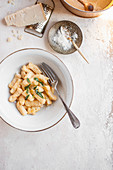Pumpkin gnocchi with sage butter and parmesan cheese