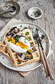 Savory waffles with soft boiled egg and mushrooms