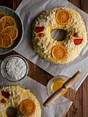 Rosca de Reyes (Spanish pastry to celebrate Epiphany) with candied fruits and seeds