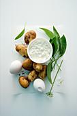 Zutaten für Ofenkartoffeln mit Bärlauch-Dip