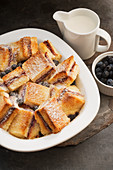 Baked jam sandwich blueberry custard pudding