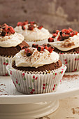 Chocolate cherry and coconut cupcakes