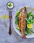 Fried trout with leek, dill flowers and a herb dip