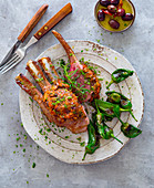 Rack of lamb with pimentos and olives