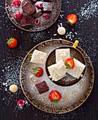 Macadamia fudge and chocolate fudge with strawberries and raspberries