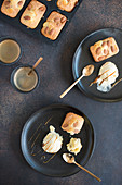 Blondies with almonds and white chocolate ice cream