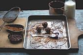 Schokoladentrüffeln auf Backblech