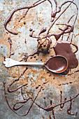 Artisan chocolate truffles with chocolate sauce