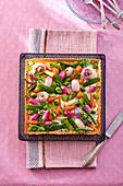 A square vegetable tart