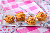 Fried potato and cheese cakes with chives