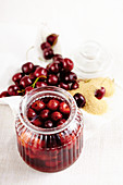 Preserved rum cherries with brown sugar
