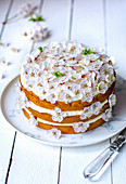 Biscuit cake with butter cream, decorated with apricot flowers