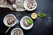 Chocolate cake roll with lemon filling