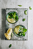 Water with fresh mint and lemon