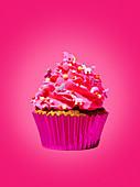 A cupcake against a pink background