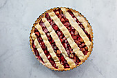 Strawberry and rhubarb tart with a lattice topping