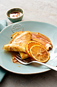 Crepe Suzette (pancake with orange liqueur and orange juice sauce, France)